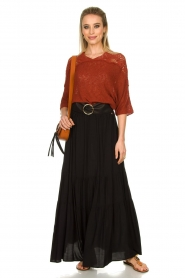 Kocca |  Maxi skirt with pleats Paquita | black  | Picture 3