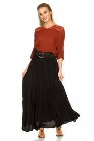 Kocca |  Maxi skirt with pleats Paquita | black  | Picture 4
