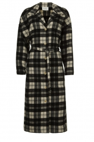 American Vintage |  Long checkered coat Billy | Black white  | Picture 1