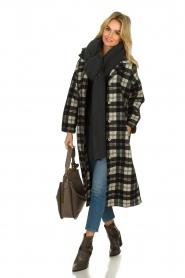 American Vintage | Lange geruite jas Billy | Zwart wit   | Afbeelding 3