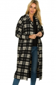 American Vintage |  Long checkered coat Billy | Black white  | Picture 4