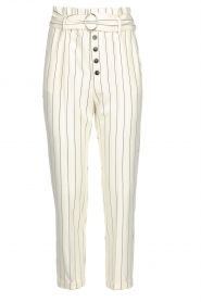 Kocca |  Striped paperbag pants Eulalia | white  | Picture 1