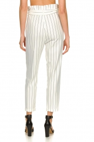 Kocca |  Striped paperbag pants Eulalia | white  | Picture 5