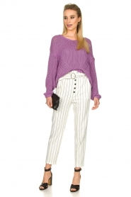 Kocca |  Striped paperbag pants Eulalia | white  | Picture 3