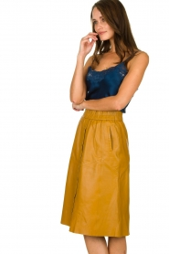Dante 6 |  Leather skirt Reid | ocher yellow  | Picture 4