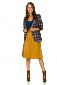 Dante 6 |  Leather skirt Reid | ocher yellow  | Picture 3