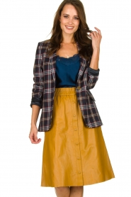 Dante 6 |  Leather skirt Reid | ocher yellow  | Picture 2