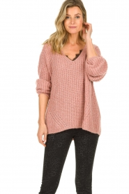 Set |  Chunky knit sweater Groovy | pink  | Picture 4