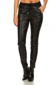 Aaiko |  Imitation leather pants with studs Sosa | black  | Picture 2