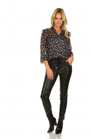 Aaiko |  Imitation leather pants with studs Sosa | black  | Picture 3