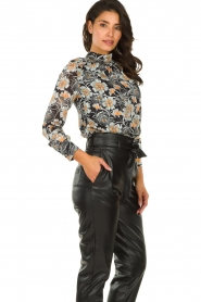 Aaiko |  Blouse with flower print Fayah | black  | Picture 2