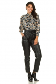Aaiko |  Blouse with flower print Fayah | black  | Picture 3