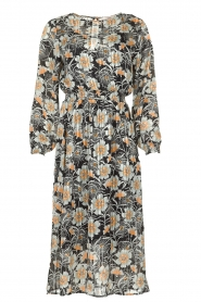 Aaiko |  Midi dress with flower print Pamila | black  | Picture 1
