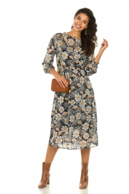 Aaiko |  Midi dress with flower print Pamila | black  | Picture 3