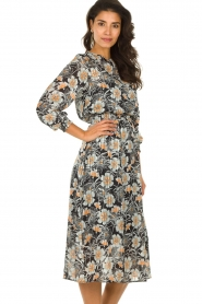 Aaiko |  Midi dress with flower print Pamila | black  | Picture 4