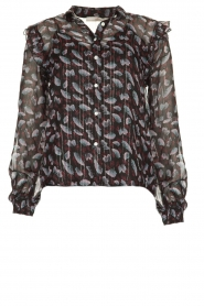 Aaiko |  Blouse with floral print Dio | black   | Picture 1