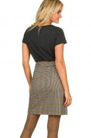 Aaiko |  Checkered skirt Patia | black & white  | Picture 5
