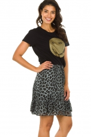 Set |  Skirt with leopard print Zara | blue  | Picture 4