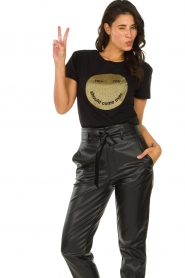 Set |  T-shirt with glitter print Smiley | black  | Picture 4