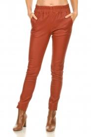 Est-Seven |  Leather leggings Amber | burned orange  | Picture 2