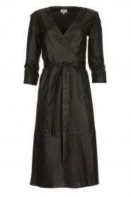 Est-Seven |  Leather wrap dress Ella | black  | Picture 1