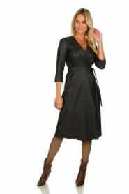 Est-Seven |  Leather wrap dress Ella | black  | Picture 3