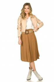 Silvian Heach |  Pleated skirt Ilbark | brown  | Picture 3