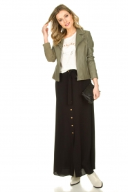 Silvian Heach |  Maxi skirt with belt | black  | Picture 3