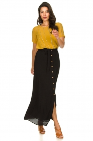 Silvian Heach |  Maxi skirt with belt | black  | Picture 2