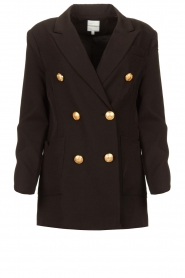 Silvian Heach |  Oversized blazer with marine buttons Xemir | black  | Picture 1