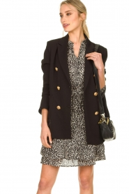 Silvian Heach |  Oversized blazer with marine buttons Xemir | black  | Picture 2
