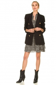 Silvian Heach |  Oversized blazer with marine buttons Xemir | black  | Picture 8