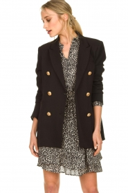 Silvian Heach |  Oversized blazer with marine buttons Xemir | black  | Picture 4