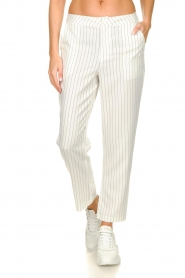 Silvian Heach |  Striped pantalon Donomanga | white  | Picture 2