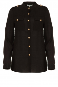 Silvian Heach |  Blouse with marine buttons Koulamga | black  | Picture 1