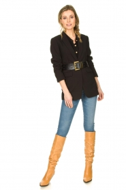 Silvian Heach |  Blouse with marine buttons Koulamga | black  | Picture 3