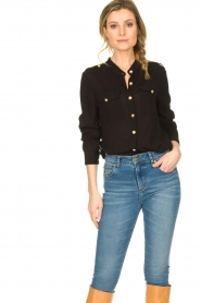 Silvian Heach |  Blouse with marine buttons Koulamga | black  | Picture 2