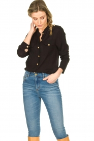 Silvian Heach |  Blouse with marine buttons Koulamga | black  | Picture 4