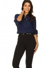 ELISABETTA FRANCHI |  Stretch blouse Frizzante | blue  | Picture 2