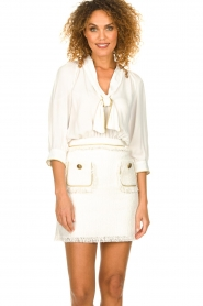 ELISABETTA FRANCHI | Jurk met blouse detail Dolce | wit : Dress with blouse detail Do  | Picture 2