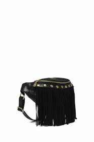 Depeche |  Leather bum bag with fringes | black  | Picture 4