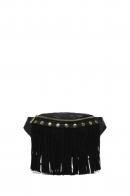 Depeche |  Leather bum bag with fringes | black  | Picture 2