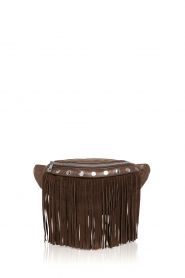 Depeche |  Leather bum bag with fringes Manu | brown