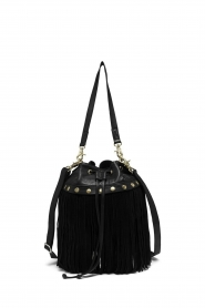 Depeche |  Leather fringe bucket bag Fay | black  | Picture 1