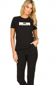 ELISABETTA FRANCHI |  T-shirt with logo print Stella | black  | Picture 4