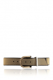 Depeche |  Leather belt with golden studs Lina | black  | Picture 1