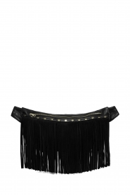 Depeche |  Leather bag with fringes Kiki | black  | Picture 1