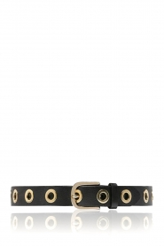 Depeche |  Leather belt with golden details Malia | black  | Picture 1