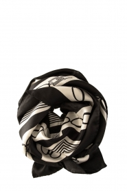 ELISABETTA FRANCHI |  Silk printed shawl Catena | black  | Picture 1