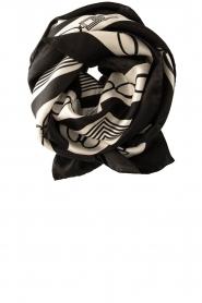 ELISABETTA FRANCHI |  Silk printed shawl Catena | black  | Picture 1